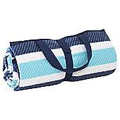 Picnic Rug herringone Stripe  Marina Blue