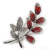 Delicate Red Crystal Leaf Brooch (Silver Tone Metal)
