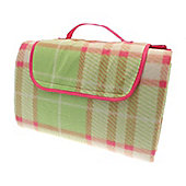 Country Club Family Size Beach & Picnic Blanket 150 x 200cm, Green Tartan