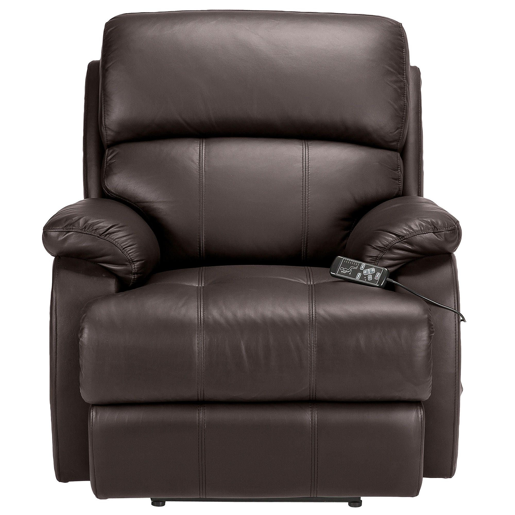 Massage Leather Recliner Chair Brown at Tescos Direct