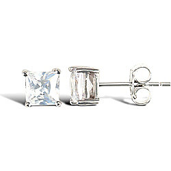 Jewelco London Sterling Silver CZ Square Princess Cut Solitaire Solitaire Earrings - 5mm