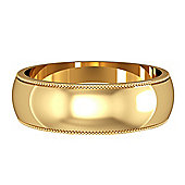Jewelco London 9ct Yellow Gold - 6mm Essential D-Shaped Mill Grain Edge Band Commitment / Wedding Ring -