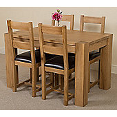 Kuba Chunky Solid Oak 125 cm Dining Table with 4 Lincoln Chairs