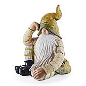 Aspen the Large Sitting Woodland Resin Garden Gnome Ornament with Green Hat