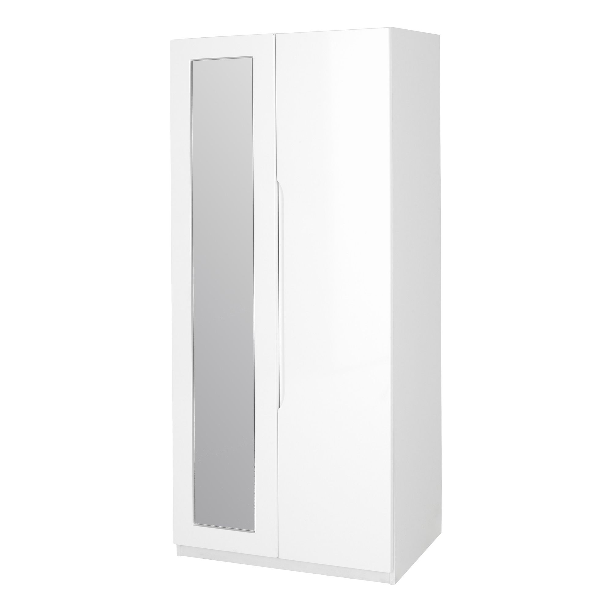 Alto Furniture Visualise Alpine Wardrobe with Mirror in High Gloss White at Tesco Direct
