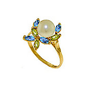QP Jewellers Peridot, Blue Topaz & Pearl Ivy Ring in 14K Gold