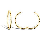 Jewelco London 9ct Yellow gold Diamond Cut Hinged Sleepers