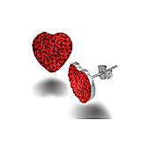 Jewelco London Rose Coated Sterling Silver Crystal Red Love Heart Earrings - Ladies