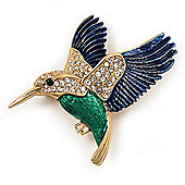 Multicoloured Crystal 'Hummingbird' Brooch In Gold Plated Metal