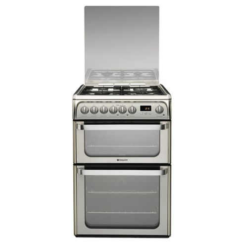 Hotpoint HUD61XS, Inox Stainless Steel, Gas Cooker, Double Oven, 60cm