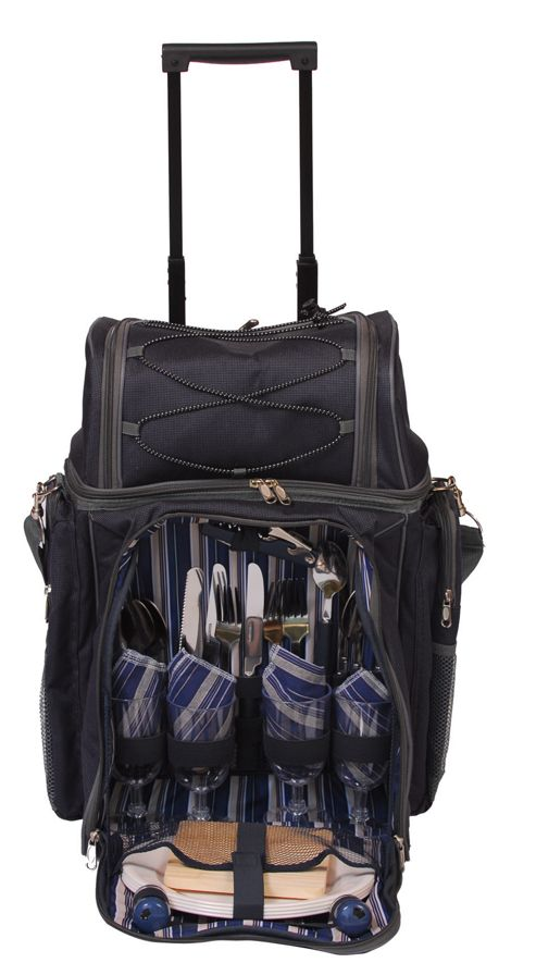Epicurean 4 Person Picnic Trolley Bag in Blue