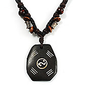'Hieroglyph' Wood Cotton Cord Versatile Pendant - 52cm Length