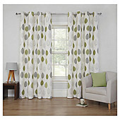 Leaf Printed Lined Eyelet Curtains - Green - 46 X 54