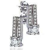 The REAL Effect Rhodium Coated Sterling Silver Cubic Zirconia Stud Earrings