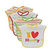 Mothercare I Love Mummy Bibs - 4 Pack