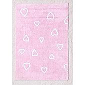 Lorena Canals Corazones Pink Children's Rug - 120 cm W x 160 cm D (3 ft 11 in x 5 ft 3 in)