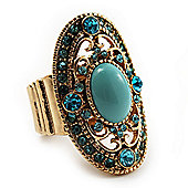 Oval Victorian Turquoise Style Crystal Flex Ring in Gold Plating - Size 7/9