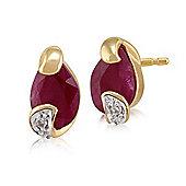 Gemondo 9ct Yellow Gold 0.88ct Ruby & Diamond Stud Earrings