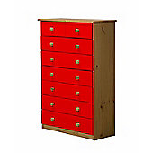 Verona Drawer Chest 6 + 2 Colour Antique and Red
