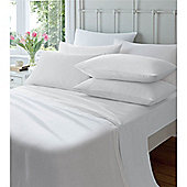 Catherine Lansfield Home Cosy Corner 145gsm Plain Dyed Flette King Size Bed Fitted Sheet White