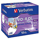 Verbatim DVD+R 8.5GB 8x Double Layer Printable Jewel Case - 10 Pack