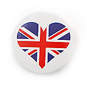 Union Jack Heart Lapel Pin Button Badge - 3cm Diameter