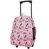 Children's Rolling Luggage- Pink Horses