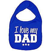 Dirty Fingers I Love my Dad Baby Bib Royal Blue