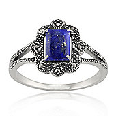 Gemondo Sterling Silver 0.90ct Lapis Lazuli & 8.8pt Marcasite Art Deco Style Ring