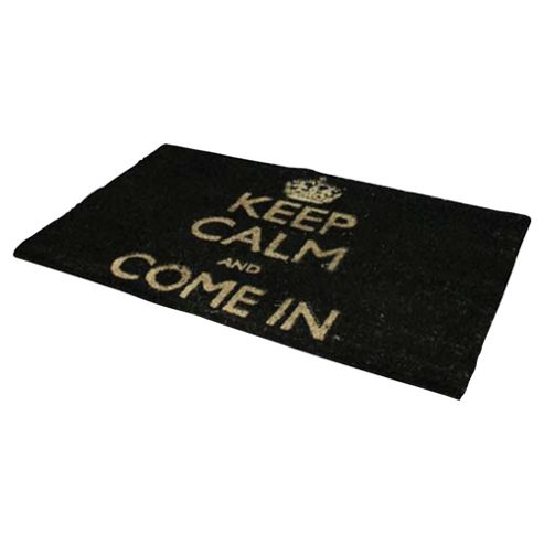 Tesco Keep Calm And Come In -  PVC Coir Mat Black