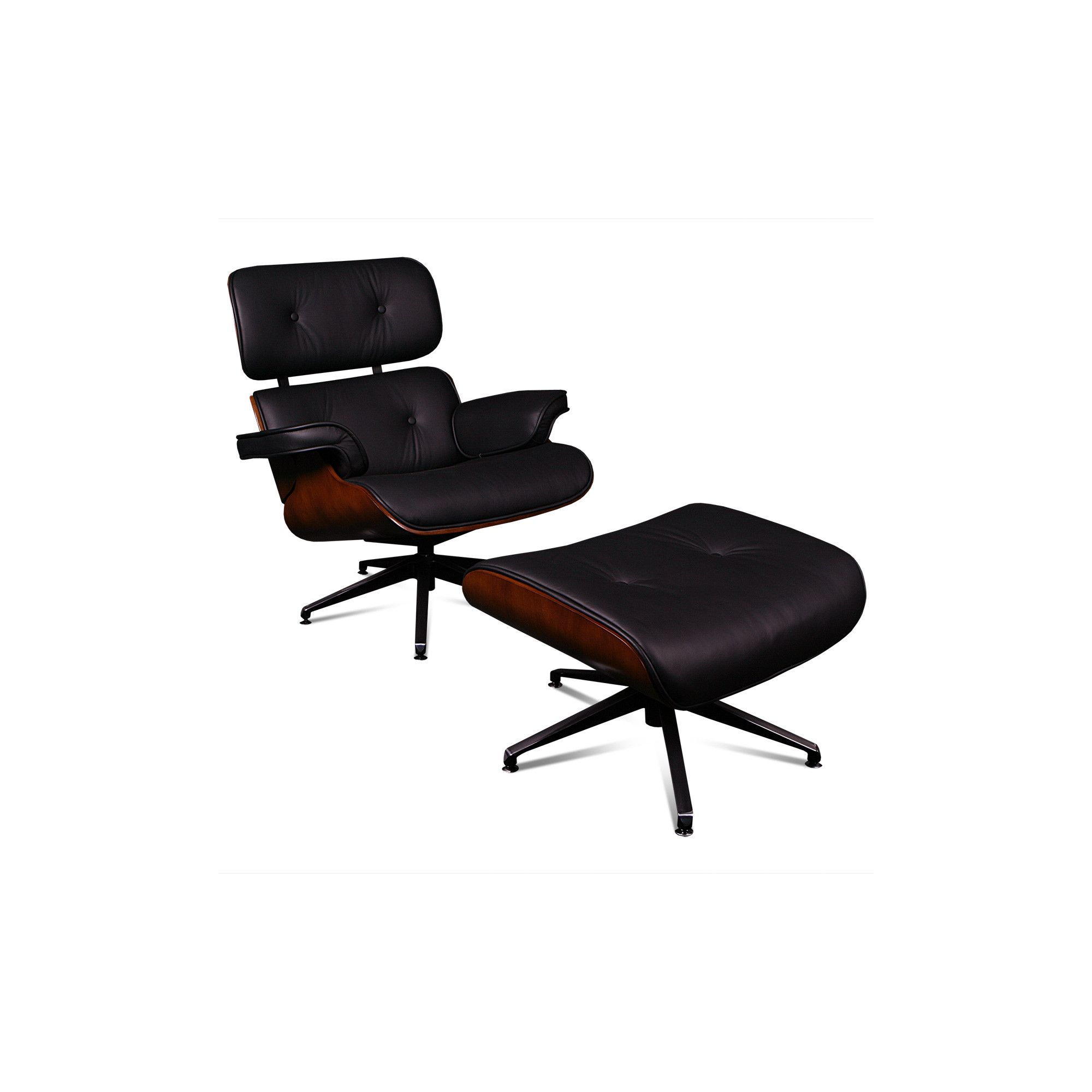 ProMech Racing Classic Leather Lounge Chair and Ottoman - Black