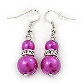 Fuchsia Glass Pearl, Crystal Drop Earrings In Rhodium Plating - 40mm Length