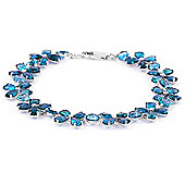 QP Jewellers 5in 20.70ct Blue Topaz Blossom Bracelet in 14K White Gold