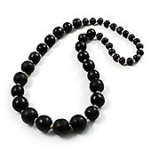 Black Wooden Bead Necklace - 64cm Length