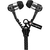 Champion Zipper Earphones - Black