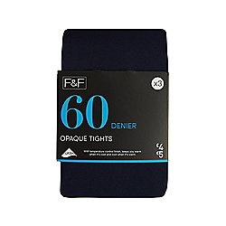 F&F 3 Pack of Opaque 60 Denier Tights S Navy