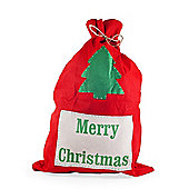 Large Red Felt Christmas Sack with 'Merry Christmas' Design