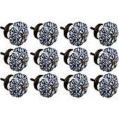 Ceramic Cupboard Drawer Knobs - Vintage Flower Design - Dark Blue - Pack Of 12