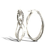 Jewelco London Sterling Silver Double Hoop Earrings