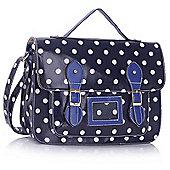 KCMODE Womens Navy Spotty Polka Dot Satchel Handbag