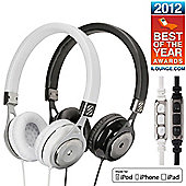 Scosche RH656M On Ear Headphones (White) with Inline Microphone