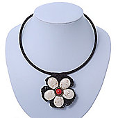 Antique White Ceramic 'Flower' Pendant Wired Choker Necklace - Adjustable