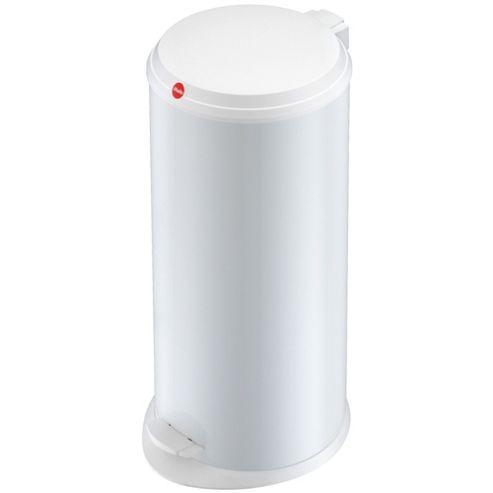 20L White Steel Pedal Bin
