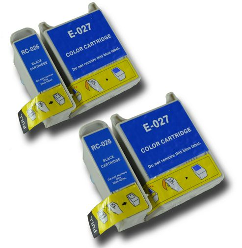 4 T026 T027 Compatible Epson Clown Fish non-OEM ink cartridges for Epson Stylus