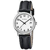 M-Watch Black & White Unisex Leather Date Watch A661.30545.01