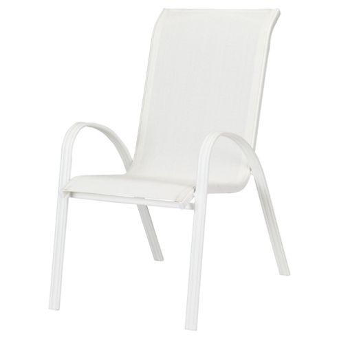 Seville Metal/Waterproof Woven Textile Stacking Chair- White