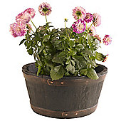 Strata Oakwood Barrel Planter, 49cm