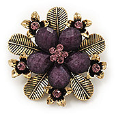 'Botanica' Flower Brooch In Antique Gold Finish Crystal/Stone (Purple) - 5.5cm Diameter