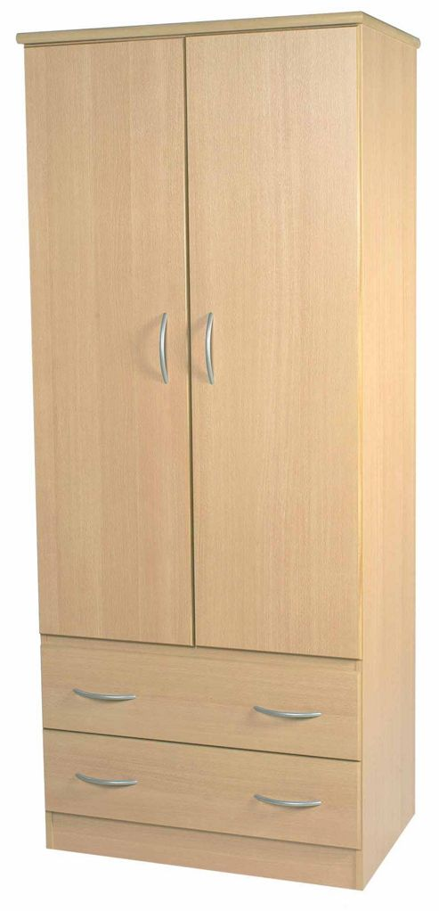 Welcome Furniture Avon 2 Drawer Robe - 74 cm - Walnut