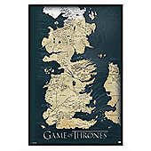 Gloss Black Framed Game of Thrones The Seven Kingdoms of Westeros Map Poster